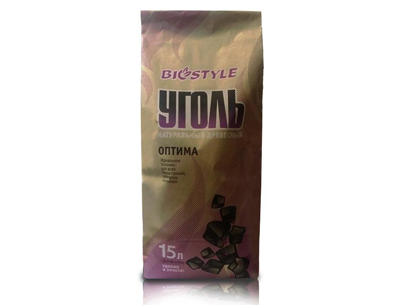 """Уголь древесный BioStyle """"Оптима"""" в пакете, 15л."""